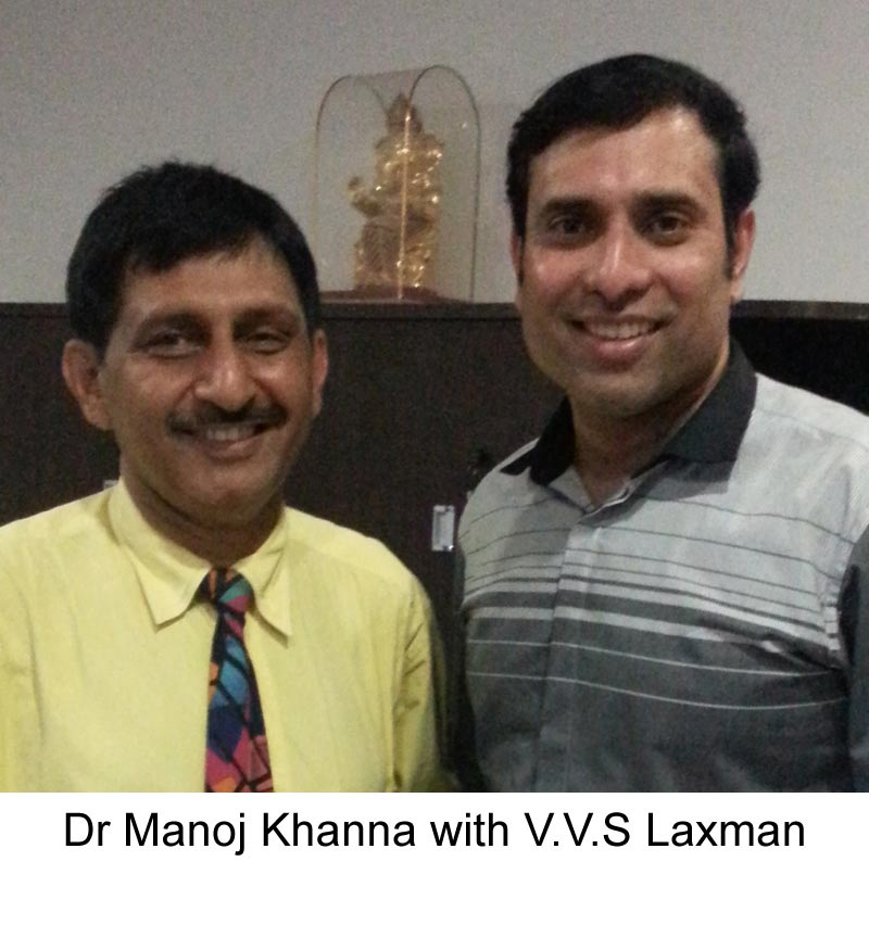 VVS Laxman with famous Hair Transplant surgeon Dr Manoj Khanna
