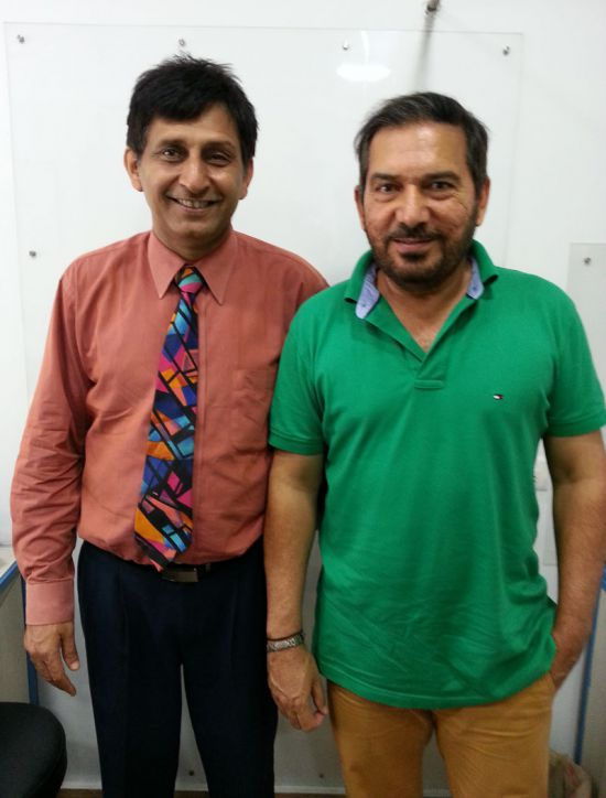 Arun Lal with Hair transplant surgeon Manoj Khanna