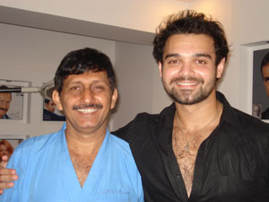 Mimoh Chakrabarty with Hair transplant surgeon Manoj Khanna